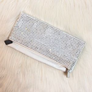 BCBGeneration Pearl Leather Foldover Clutch